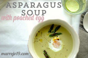 Asparagus soup with poached quail egg