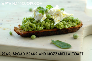 Peas, broad beans and mozzarella toast