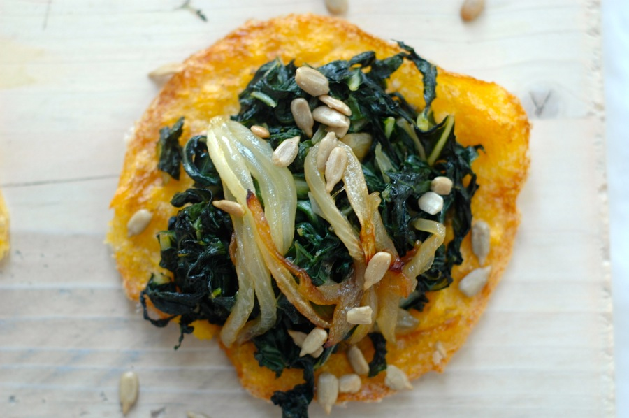 Polenta Pizzas With Kale, Chard, And Parsley Pesto Recipe — Dishmaps