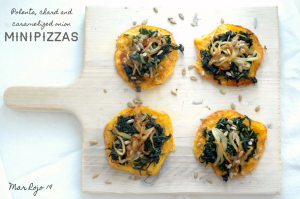 Polenta, chard and caramelized onion minipizzas